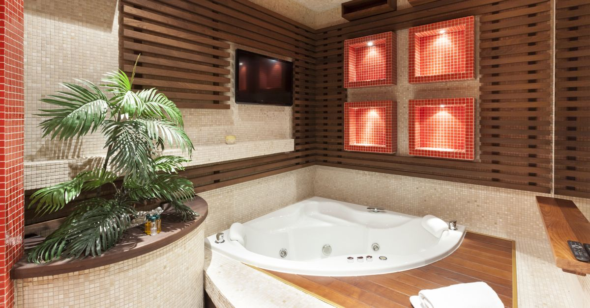Build-in TV in a luxury bathroom