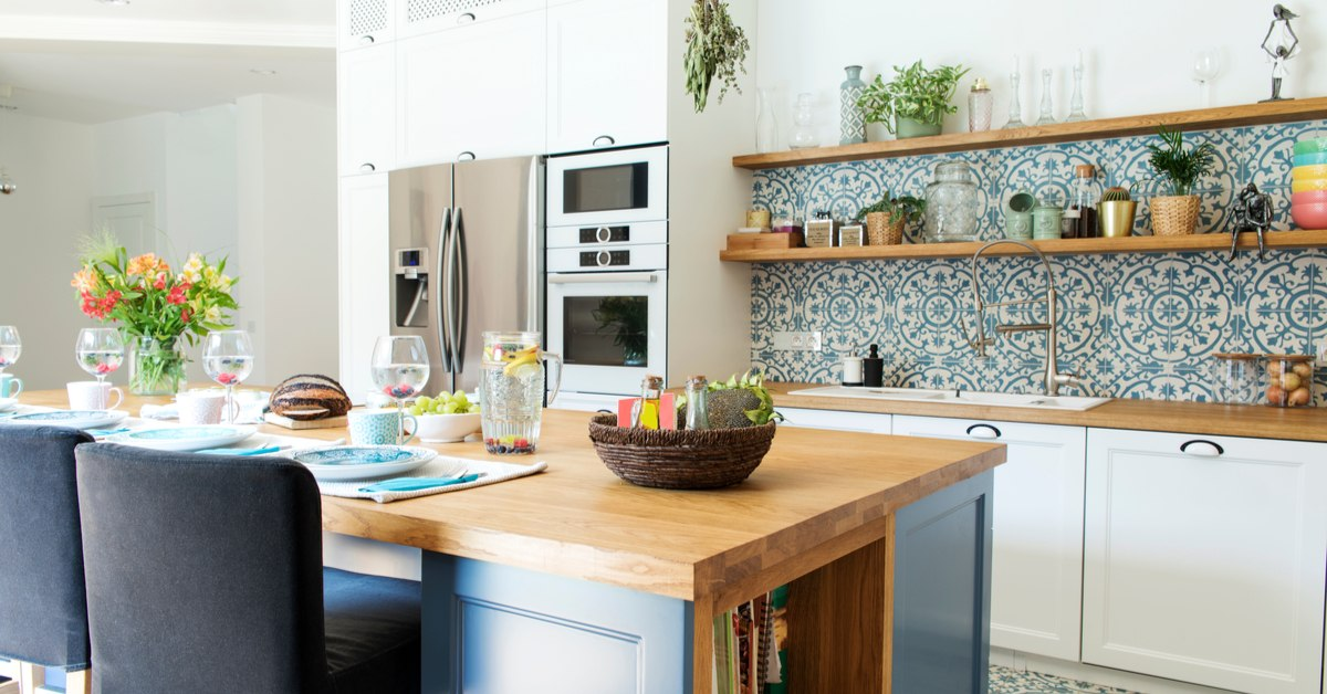 Classic kitchen with patterned tiles