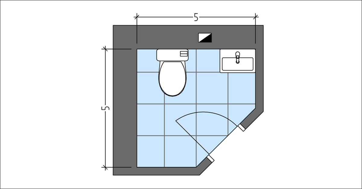Corner Powder Room Layout Plan