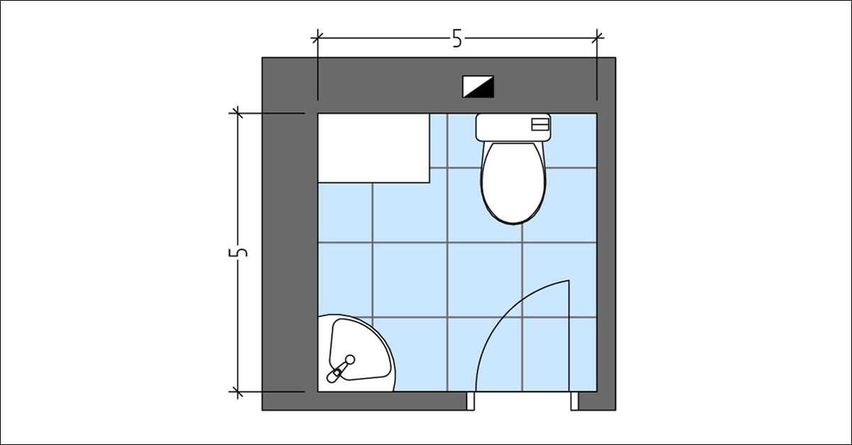 Powder Room with Toilet in Front of the Door