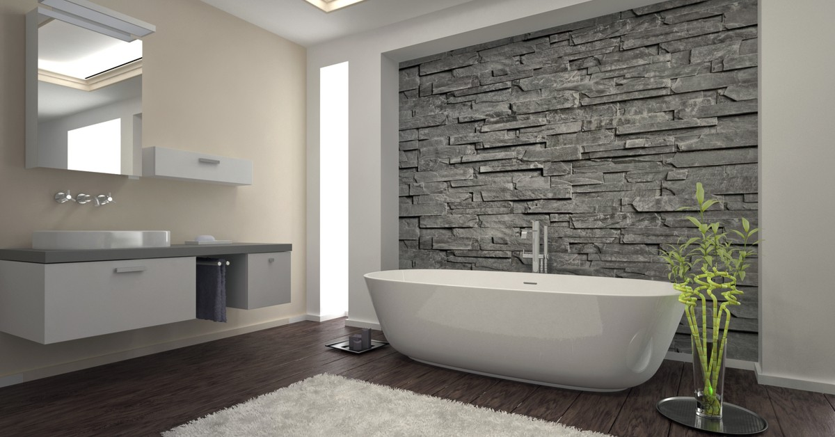Stand alone tub in modern bathroom