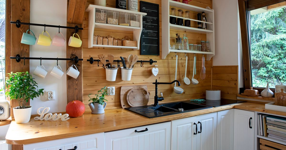 Wooden kitchen with open shelves