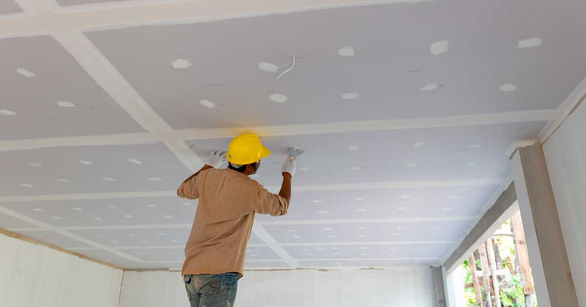 Drywall installation in home addition project