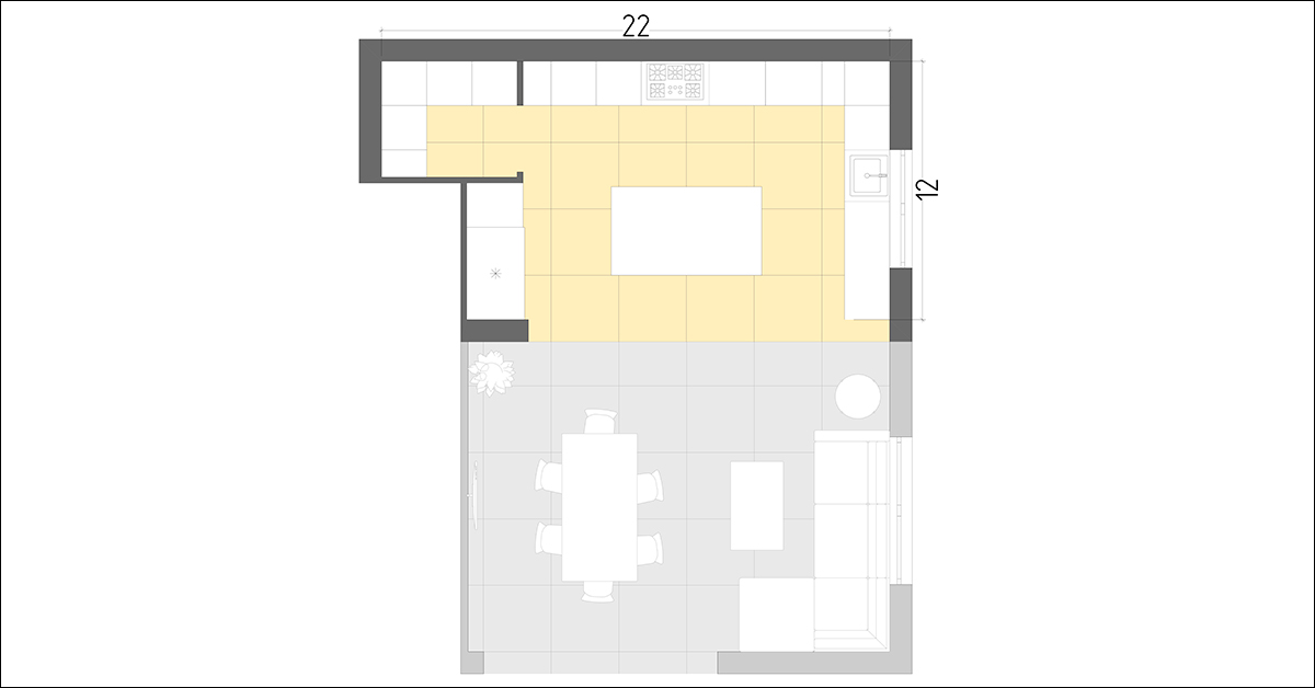 Kitchen plan with living room